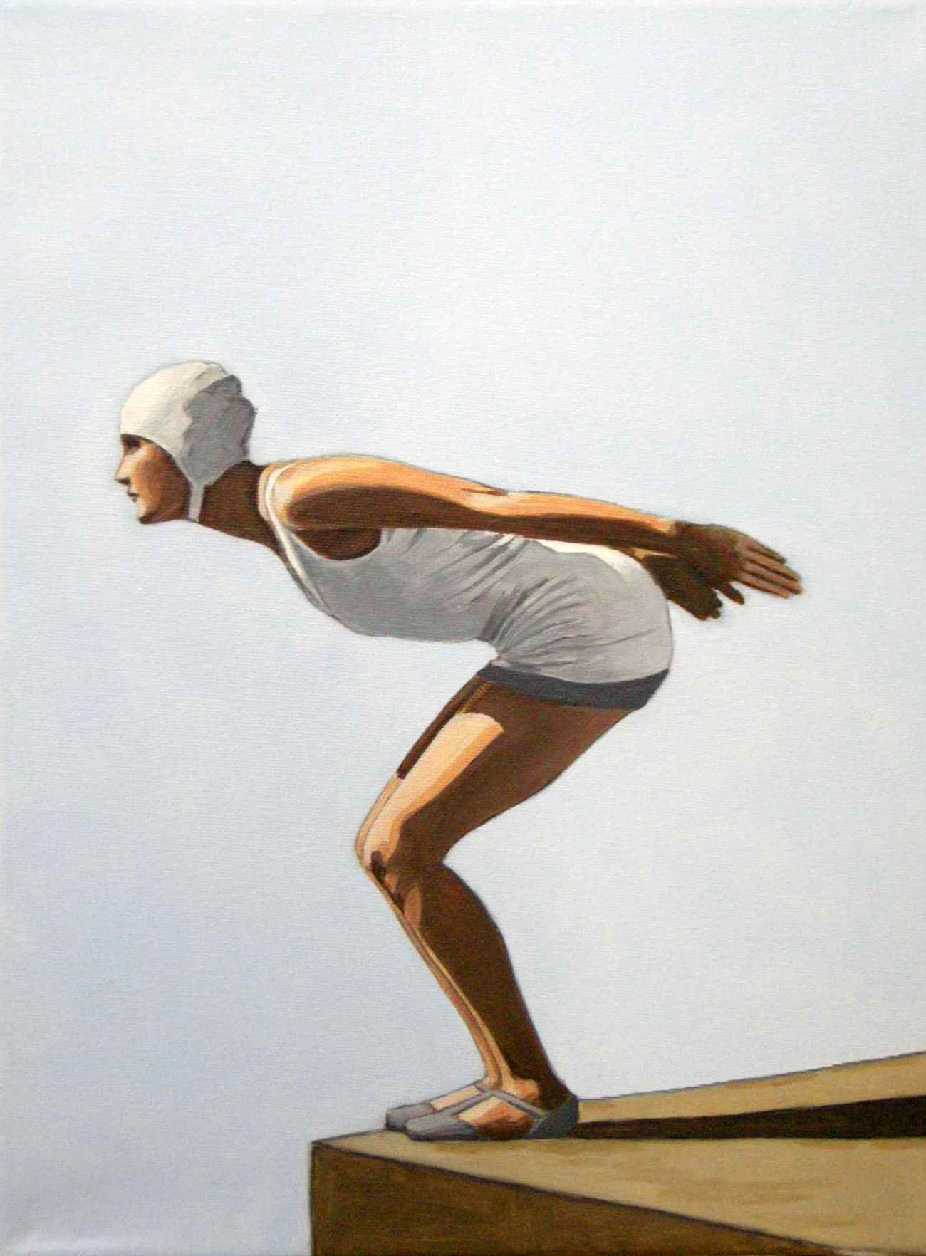 Painting of woman in vintage bathing suit ready to jump | © Sarah Morrissette