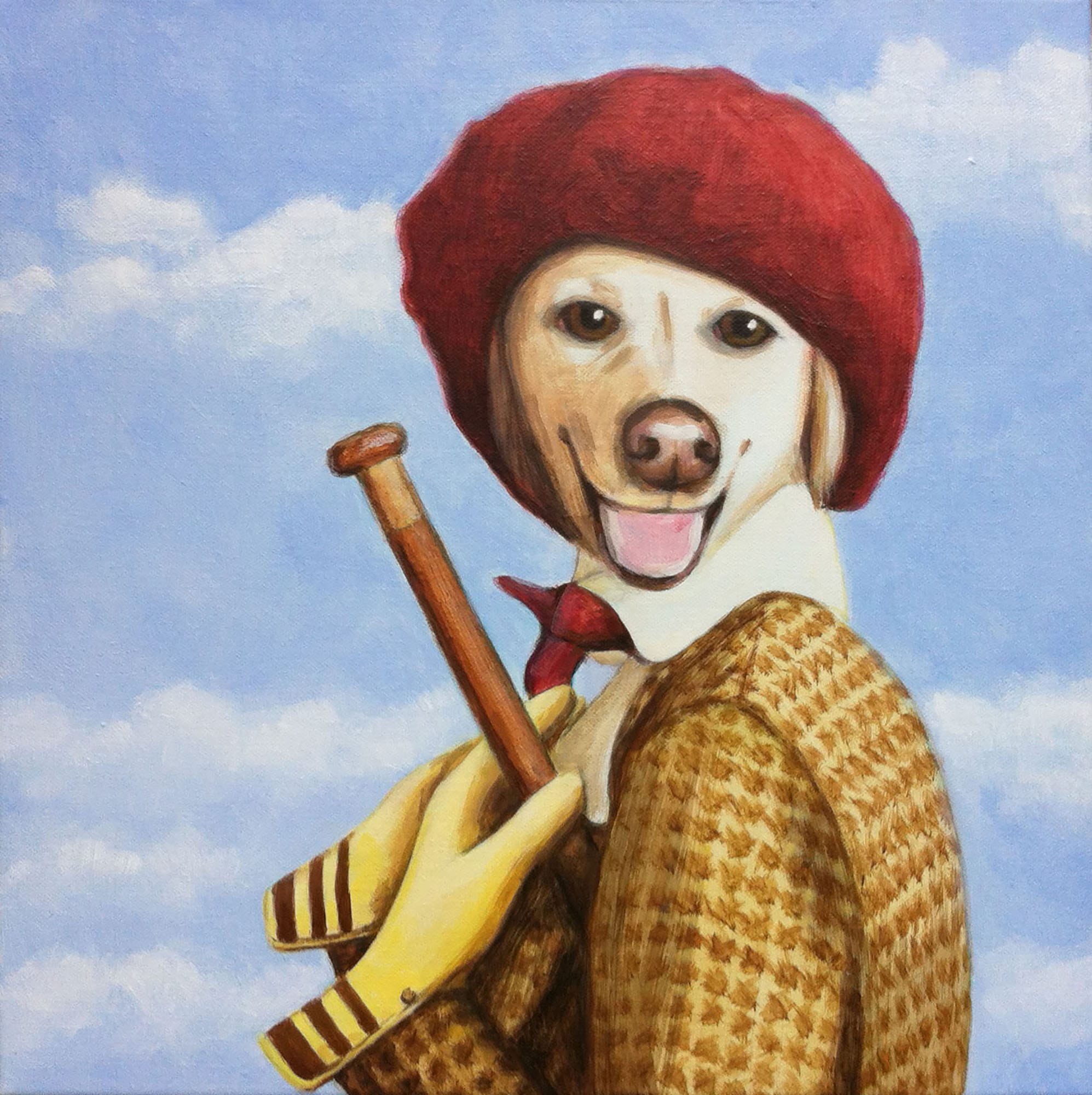 Golden retriever dressed up in a red beret | © Sarah Morrissette