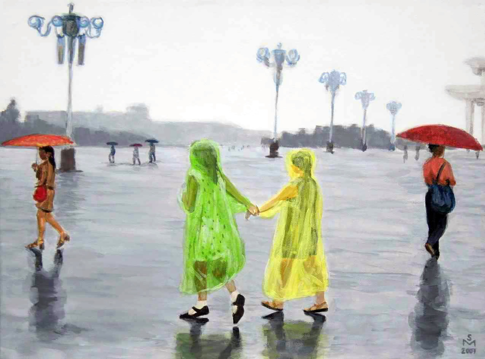 Two girls holding hands in the rain | © Sarah Morrissette